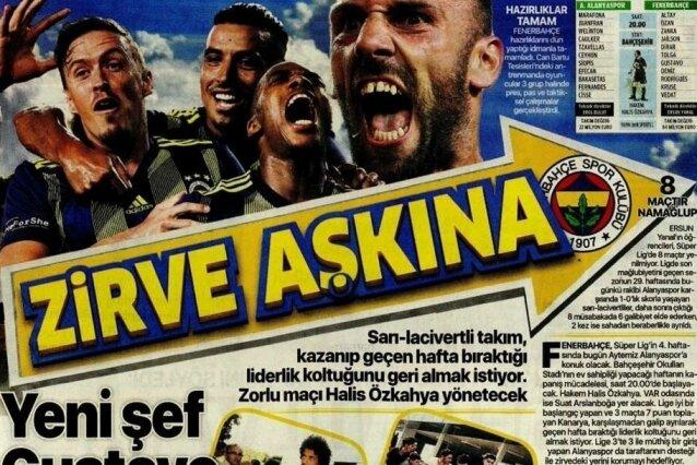 Fenerbahçe manşetleri ( 16 Eylül Pazartesi )