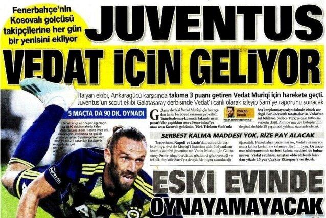Fenerbahçe manşetleri ( 23 Eylül Pazartesi )